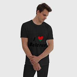 Пижама хлопковая мужская I love Belarus цвета черный — фото 2