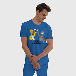 Пижама хлопковая мужская Kill all humans цвета синий — фото 2