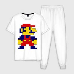 Пижама хлопковая мужская Pixel Mario цвета белый — фото 1