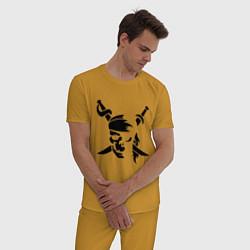 Пижама хлопковая мужская Пиратский знак цвета горчичный — фото 2