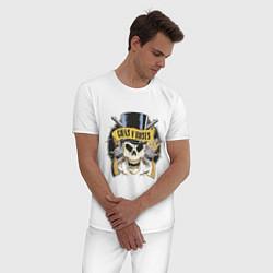 Пижама хлопковая мужская Guns n roses цвета белый — фото 2