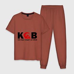Пижама хлопковая мужская КГБ — все еще следит цвета кирпичный — фото 1