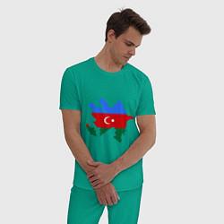 Пижама хлопковая мужская Azerbaijan map цвета зеленый — фото 2