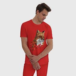 Пижама хлопковая мужская Полигональный лис цвета красный — фото 2