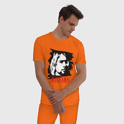 Пижама хлопковая мужская Nirvana: Kurt Cobain цвета оранжевый — фото 2
