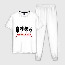Пижама хлопковая мужская Metallica (Лица) цвета белый — фото 1