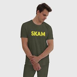 Пижама хлопковая мужская Skam цвета меланж-хаки — фото 2