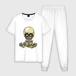 Пижама хлопковая мужская Медитация цвета белый — фото 1
