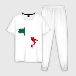 Пижама хлопковая мужская Италия (Italy) цвета белый — фото 1
