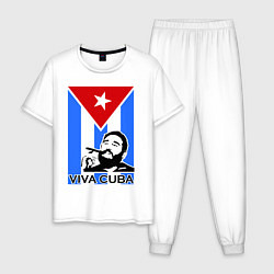 Пижама хлопковая мужская Fidel: Viva, Cuba! цвета белый — фото 1