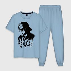 Пижама хлопковая мужская 2pac цвета мягкое небо — фото 1