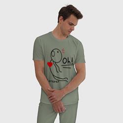 Пижама хлопковая мужская Oh: Forever цвета авокадо — фото 2