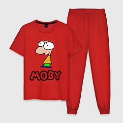 Пижама хлопковая мужская Moby цвета красный — фото 1