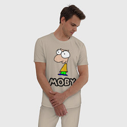 Пижама хлопковая мужская Moby цвета миндальный — фото 2