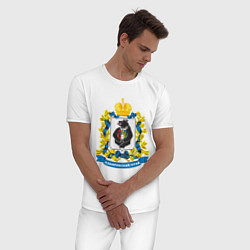 Пижама хлопковая мужская Хабаровский край цвета белый — фото 2