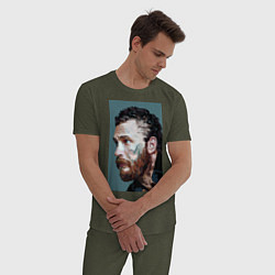 Пижама хлопковая мужская Том Харди Ван Гога цвета меланж-хаки — фото 2