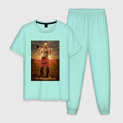 Пижама хлопковая мужская American Gods: Czernobog цвета мятный — фото 1