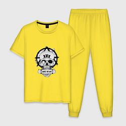 Пижама хлопковая мужская Skate or die цвета желтый — фото 1