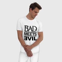 Пижама хлопковая мужская Bad Meets Evil цвета белый — фото 2