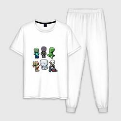 Пижама хлопковая мужская Minecraft Units цвета белый — фото 1