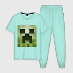 Пижама хлопковая мужская Мinecraft creeper цвета мятный — фото 1
