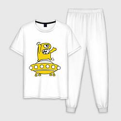 Пижама хлопковая мужская Пришелец Саня цвета белый — фото 1
