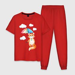 Пижама хлопковая мужская Лис под зонтиком цвета красный — фото 1