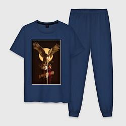 Пижама хлопковая мужская Твин Пикс цвета тёмно-синий — фото 1