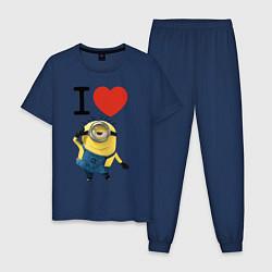 Пижама хлопковая мужская I love Minion цвета тёмно-синий — фото 1