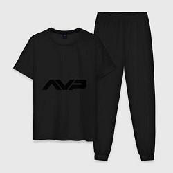 Пижама хлопковая мужская AVP: White Style цвета черный — фото 1