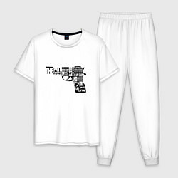 Пижама хлопковая мужская Pulp Fiction Gun цвета белый — фото 1