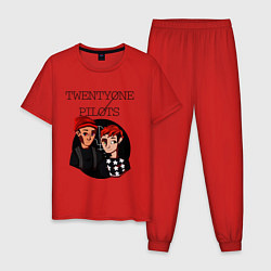 Пижама хлопковая мужская TOP Boys цвета красный — фото 1