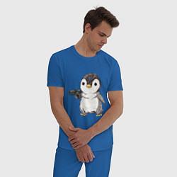 Пижама хлопковая мужская Пингвин с пистолетом цвета синий — фото 2