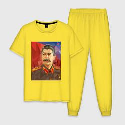 Пижама хлопковая мужская Сталин: полигоны цвета желтый — фото 1