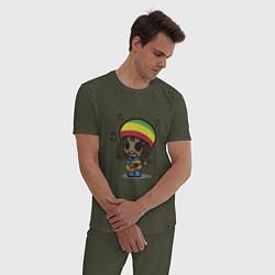 Пижама хлопковая мужская Маленький Боб Марли цвета меланж-хаки — фото 2