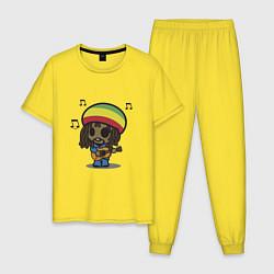 Пижама хлопковая мужская Маленький Боб Марли цвета желтый — фото 1