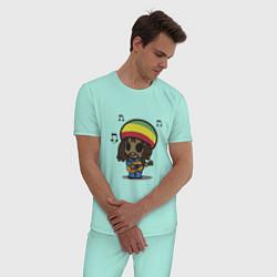 Пижама хлопковая мужская Маленький Боб Марли цвета мятный — фото 2