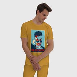 Пижама хлопковая мужская Bloody Poster цвета горчичный — фото 2