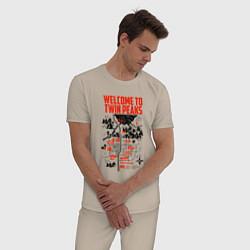 Пижама хлопковая мужская Welcome to Twin Peaks цвета миндальный — фото 2