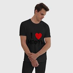 Пижама хлопковая мужская Я люблю нефть цвета черный — фото 2