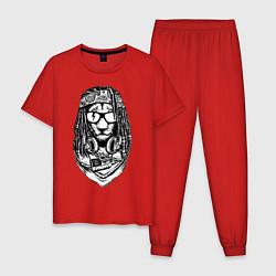 Пижама хлопковая мужская Лев растаман цвета красный — фото 1