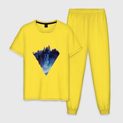 Пижама хлопковая мужская Край леса цвета желтый — фото 1
