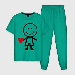 Пижама хлопковая мужская Влюбленный мальчик цвета зеленый — фото 1