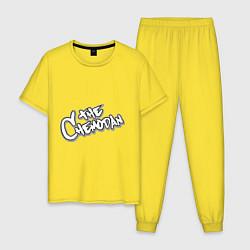 Пижама хлопковая мужская The Chemodan цвета желтый — фото 1