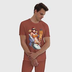 Пижама хлопковая мужская Секси гел борд цвета кирпичный — фото 2