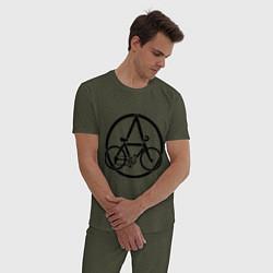 Пижама хлопковая мужская Anarchy Bike цвета меланж-хаки — фото 2