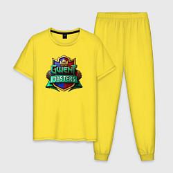 Пижама хлопковая мужская Гвинт цвета желтый — фото 1