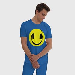 Пижама хлопковая мужская Смайлик-наушники цвета синий — фото 2