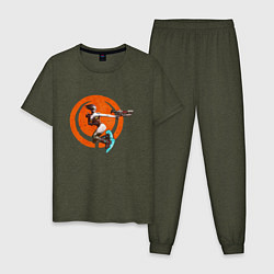 Пижама хлопковая мужская Quake champions цвета меланж-хаки — фото 1