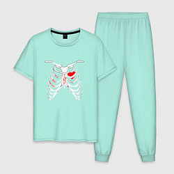 Пижама хлопковая мужская TOP Skeleton цвета мятный — фото 1